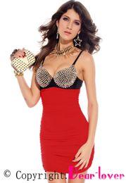 Wholesale Mini Babe - Wholesale-2015 Summer New Sexy Sleeveless Punk Rivets Bra Top Club Bodycon Mini Dress Babe LC2680 Sexy Studs Clubwear Party Women Dress