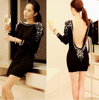 Wholesale Bejeweled Dresses - Wholesale-Free Shipping Sexy Dress women Pearl Beads mini bejeweled little black open back backless club wear luxury summer 2015