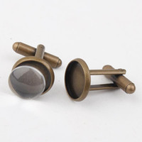 Wholesale Clip Cuff Links - Wholesale-Free Shipping Antique Bronze Plated 12mm 16mm 20mm French Cufflink Blank Settings,Cufflink Base Sets