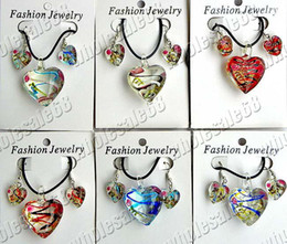 Wholesale Earring Murano - Wholesale lots 12set Heart Flower Murano glass handmade Sets pendants necklaces & earrings jewelry Necklace