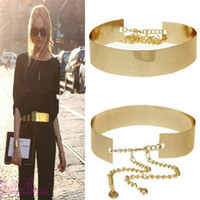 Wholesale metal plate waist belt - Wholesale-1PC 66cm Women Punk Full Metal Mirror Waist Belt Metallic Gold Plate Wide Cummerbunds With Chains Lady IC671419