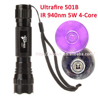 Wholesale Ultrafire Infrared Ir - Wholesale-Wholesale Infrared UltraFire WF-501B IR 940nm 5w 4-Core LED Flashlight Torch Lamp for 1x18650