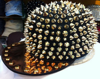 Wholesale Spiky Hats - Wholesale-HOT!! Hedgehog Punk Hiphop Unisex Hat Gold Spikes Spiky Studded Cap Top Freeshipping