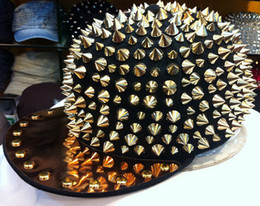 Wholesale Hedgehog Spiked Hats - Wholesale-HOT!! Hedgehog Punk Hiphop Unisex Hat Gold Spikes Spiky Studded Cap Top Freeshipping