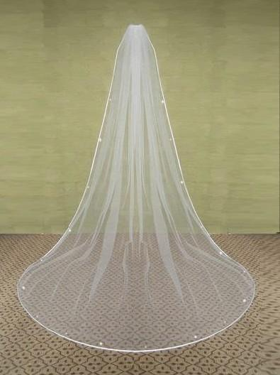 WEDDING VEIL 1T CATHEDRAL SATIN CRYSTAL IVORYV5Sd