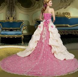 Wholesale Ivory pink strapless long train wedding dress bridal evening cooktail dress Custom SZ