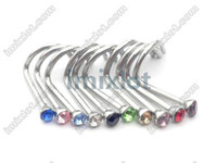 Wholesale Nose Ring Piercing Nostril - Wholesale-Free Shipping Gem Nose Rings Mixed Colors Nostril Nose Ring Screw Studs Body Piercing Jewelry 100pcs lot