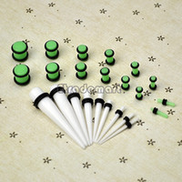 Atacado-Frete grátis 23 Pc Ear Taper + PLUG Kit 14G-00G 1.6mm-10mm Gauges Expander Set Stretchers Body Jewelry 31