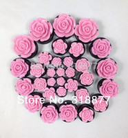 Wholesale Pink Ear Tunnels - Wholesale-16pcs lot Hot sale 8Sizes Pink New Tunnels And Plug Acrylic Rose Design Ear Plugs,Body Jewelry ear gauges