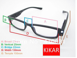 Wholesale Eyeglasses W - Wholesale-+2.5 Strength KIKAR Fashion LED Reading Glasses w  Plastic Case Night Reader Eye Light Eyeglass Spectacle Diopter Magnifier Up
