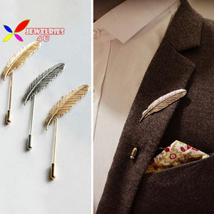 Wholesale- new hot men's brooches fashion vintage punk brand designer metal feather party coctail costume pins accessories for women