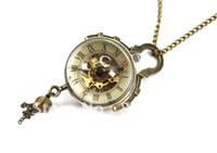 Wholesale Good Coupons - Wholesale-Coupon for wholesale buyer price good quality Chic accessories Steampunk Skeleton bronze glass ball mechanical pocket watch