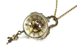 Wholesale Steampunk Mechanical Skeleton Watches - Wholesale-Coupon for wholesale buyer price good quality Chic accessories Steampunk Skeleton bronze glass ball mechanical pocket watch