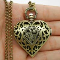 Wholesale Heart Pocket Watch Pendant - Wholesale-Bronze Hollow Quartz Heart-shaped Pocket Watch Necklace Pendant Chain Women Gift P71