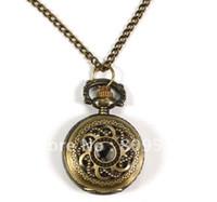 Wholesale Mini Bronze Flower Pocket Watch - Wholesale-Coupon for wholesale buyer price good quality fashion bronze mini round flower figure antique pocket watch necklace chain hour