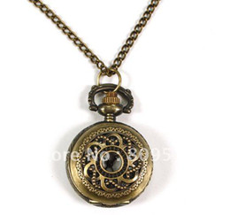 Wholesale Buyer Price - Wholesale-Coupon for wholesale buyer price good quality fashion bronze mini round flower figure antique pocket watch necklace chain hour