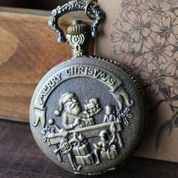 Wholesale Children Watches Santa Claus - Wholesale-Merry Christmas Santa Claus Children Xmas Gift Necklace Pocket Watch P39