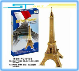 Wholesale Towers Free Paper Models - Wholesale-LINGLESI D102 3D puzzle paper craft Eiffel Tower DIY 3D three-dimensional puzzle Building model Educational Toy free shippi 2015
