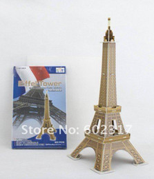 Wholesale Towers Free Paper Models - Wholesale-LINGLESI D102 3D puzzle paper craft Eiffel Tower DIY 3D three-dimensional puzzle Building model Educational Toy free shipping
