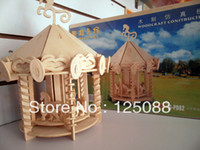 Wholesale Wooden Carousel Toy - Wholesale-Free shipping DIY Children's Educational 3D Wooden Jigsaw Puzzles Toys Great Desktop Decorations Carousel G-P082