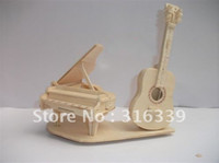 Wholesale 3d Puzzle Guitar - Wholesale-Free shipping! 3D Wooden Puzzle Guitar & Piano model kit, wood DIY toy, 1 set