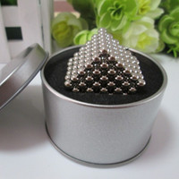 Wholesale 216 Buckyballs - Wholesale-Free shipping neocube   216 pcs 5mm Magnetic balls buckyballs magnets puzzle at metal tin box nickel color