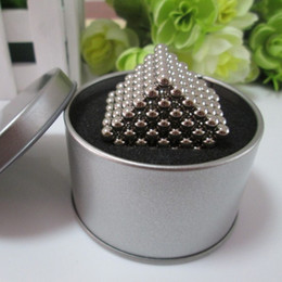 Wholesale Tin Box Free Shipping - Wholesale-Free shipping neocube   216 pcs 5mm Magnetic balls buckyballs magnets puzzle at metal tin box nickel color