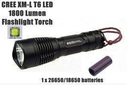 Wholesale E8 Light - Wholesale-UltraFire E8 CREE XM-L2 1600Lumens 5-Mode CREE LED Flashlight Torch light (1 x 18650  1 x 26650 ) - Free Shipping