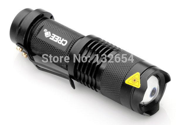 Wholesale-Mini LED Torch 7W 450LM CREE Q5 LED  Adjustable Focus Zoom flash Light Lamp free shipping wholesale