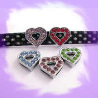 Wholesale Dog Collar Heart Charms - 100pcs 10mm Heart Slide Charms Fit Pet Dog Cat Collar Phone strips mix color