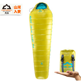 Wholesale Duck Down Sleeping - Wholesale-HIGHROCK 5-8 Degree adult Ultra-light portable mini Backpacking camping outdoor duck down Sleeping Bag for summer,down duvet