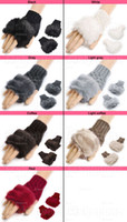 Wholesale Warm Faux Leather Gloves - Wholesale-10xWomen Faux Rabbit Fur Hand Wrist Winter Warmer Knitted Fingerless Gloves 9 Color