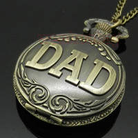 Wholesale Antique DAD Pocket Watch Pendant Bronze Mens Pappy Father s Day Gift P38