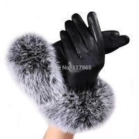 Wholesale Black Ladies Winter Gloves - Wholesale-high quality Women Lady Black Leather Gloves Autumn Winter Warm Rabbit Fur Mittens Hottest Velvet Wind water proof CH159