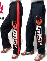 Wholesale Gasp Pants - Wholesale-Gasp pant fitness riskier 100% cotton trousers Bodybuilding squat strength training large size men's casual pants