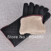 Wholesale Leather Gloves Lady Sexy - Wholesale-Free Shipping Sexy Womens Lady Check Leather Gloves Sports Girls Riding Driving Gloves Mittens DropShipping