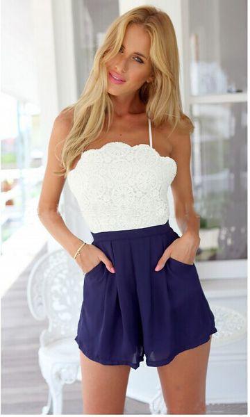Wholesale- Sexy Lady Cross Back Shorts Tuta intera Backless Playsuit Casual TutaRomper Spedizione gratuita