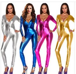 Wholesale wet look zentai - Wholesale-Sexy Gold Silver Rose Red Blue Shiny Metallic Catsuit Zentai Wet Look Vneck Bodysuit Unitard Front Zip Women Clubwear