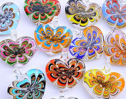 Wholesale Murano Love Heart Pendant - Lots 18pcs pretty Murano glass Heart Flower Handmade Pendant fit Necklaces Jewelry Pendant Woman gift