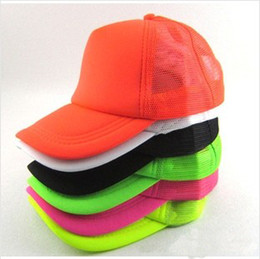 Wholesale Truckers Cap Plain - Wholesale-New 2015 Classic Fluorescent  Plain   Blank Trucker Baseball Summer Mesh Cap Hat Snapback For Men Women 10 Colors