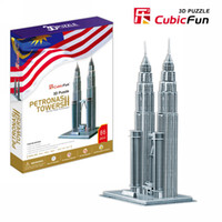 Wholesale Towers Free Paper Models - Wholesale-Children favorite toy gift 3d puzzle paper model MC084H Petronas towers Kuala Lumpur hardcover edition free shipping