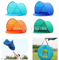 Wholesale Sun Shade Beach Tent - Wholesale-Automatic Pop Up 1-2 Person Beach UV sun shade Outdoor Camping Tourism Folding Awnings Fishing Tent waterproof Bivvy awning