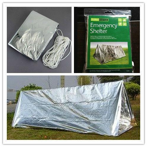 best selling Wholesale-5 x Emergency Rescue Thermal Shelter Tent Outdoor Camping Emergency Blanket Sunshade Tent Free Shipping 5pcs