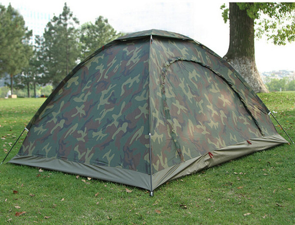 top popular Wholesale-Camouflage Camping Tent 1-2 People Outdoor Hiking Tourist Tents Tienda Camping With Top Hook Waterproof Index 2000 mm 2021