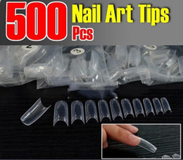 Wholesale-New Nail Art Clear Half Well False Acrylic Nail Tips For UV Gel Decoration