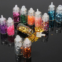 bouteilles mini paillettes achat en gros de-Gros-12 Pcs Mini Bouteille Glitter Nail Art Poudre Poussière Astuce Strass Manucure Outils Beauté Accessoires