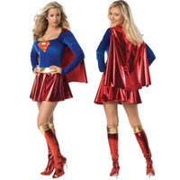 Wholesale Sexy Sporty Girls - Wholesale-Supergirl Adult Women Sexy Superwoman Superhero Super Girl Halloween Costume Hot