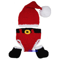 Wholesale Knit Hats Diaper Covers - Wholesale-Newborn Baby Hat+Diaper Cover Shoes Knit Crochet Photo Prop Xmas Santa Costume