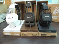 Wholesale Dj Headphones Pro Black - Wholesale-2015 new brand Marshall Major headphones with microphone black white brown Pro earphone DJ super deep bass stereo audio headset
