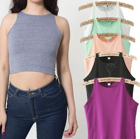 best selling Wholesale-6 Colors 2015 New Women Tight Bustier Crop Top Skinny T-Shirt Belly Sports Dance Tops Woman's Cropped Top Short Vest Tank Tops
